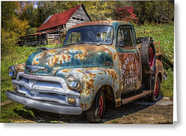 Old Barns Greeting Cards - Moonshine Truck Greeting Card by Debra and Dave Vanderlaan