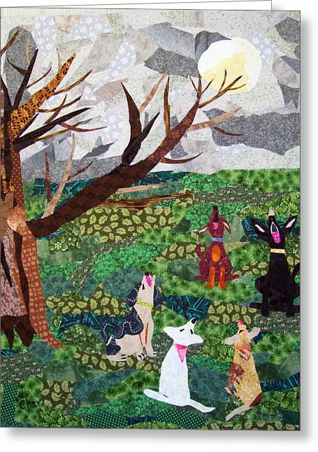 Dog Tapestries - Textiles Greeting Cards - Moonsong Greeting Card by Charlene White