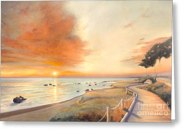 Moonstone Beach Greeting Cards - Moonstone Beach Sunset Greeting Card by Michael Rock