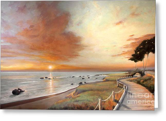 Moonstone Cambria Sunset Greeting Card by Michael Rock