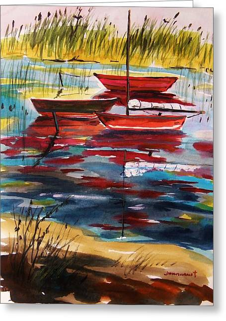 Boats On Water Drawings Greeting Cards - Moored in the Cove Greeting Card by John  Williams