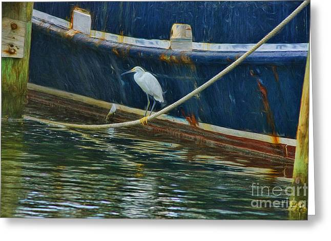 Fishing Boats Greeting Cards - Moored With The Boats Greeting Card by Deborah Benoit