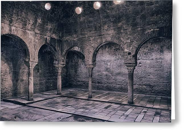 Bathhouse Greeting Cards - Moorish Baths Granada BW Greeting Card by Joan Carroll
