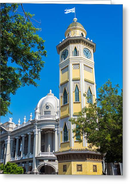 Malecon Greeting Cards - Moorish Clock Tower in Guayaquil Greeting Card by Jess Kraft