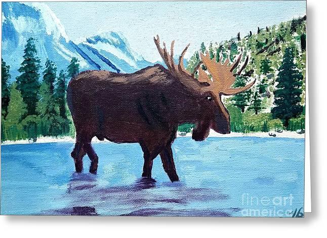 Moose Crossing Greeting Card by Scott D Van Osdol