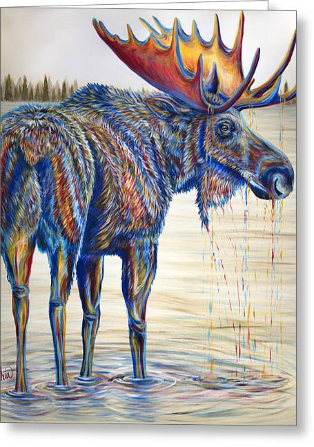 Moose Gathering, 2 Piece Diptych- Piece 1- Left Panel Greeting Card by Teshia Art