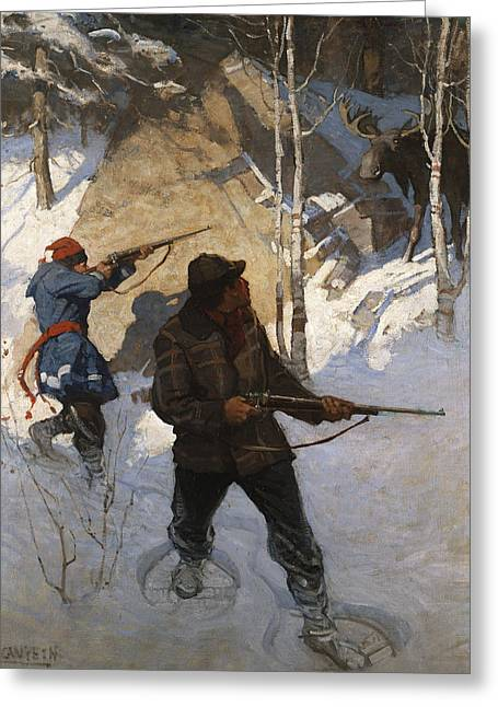Moose Hunting Greeting Card by Newell Convers Wyeth