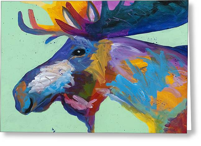 Western Abstract Greeting Cards - Moose in Green Greeting Card by Tracy Miller
