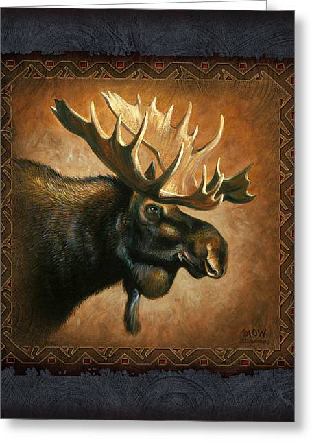 Wildlife Art Greeting Cards - Moose Lodge Greeting Card by JQ Licensing
