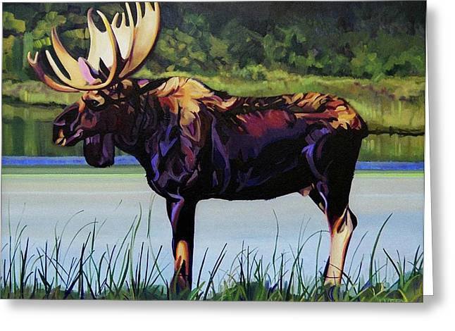 Moose In Water Greeting Cards - Moose River Greeting Card by L V Fry