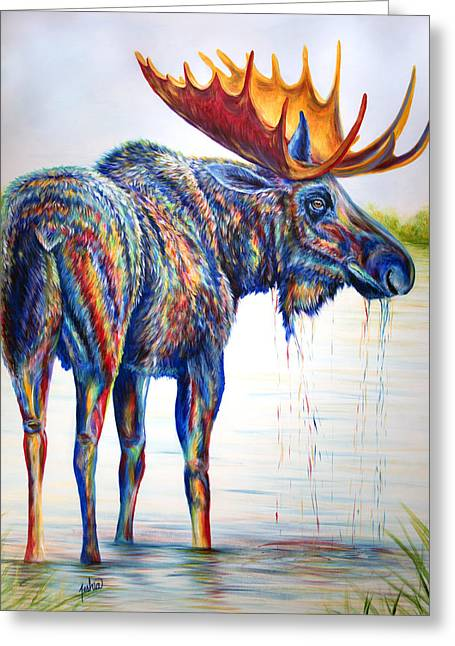 Moose Sighting Greeting Card by Teshia Art