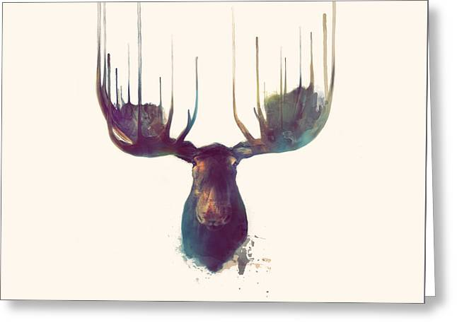 Moose // Squared Format Greeting Card by Amy Hamilton