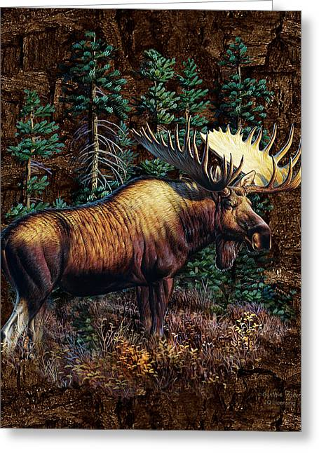 Vignette Greeting Cards - Moose Vignette Greeting Card by JQ Licensing