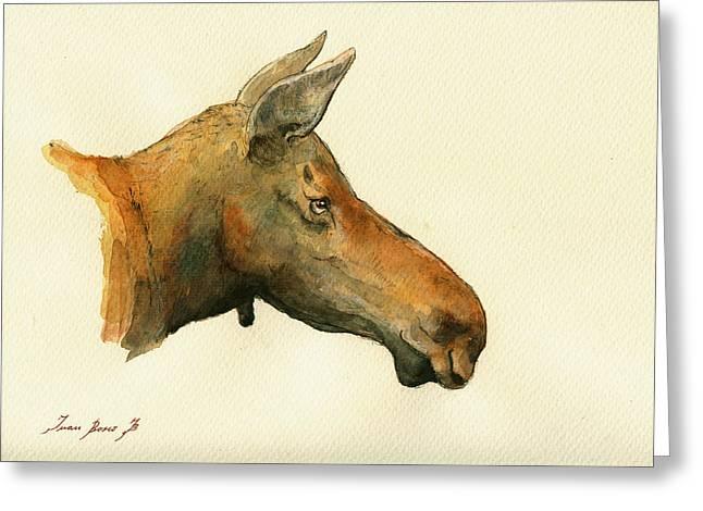 Alaska Prints Greeting Cards - Moose watercolor painting. Greeting Card by Juan  Bosco