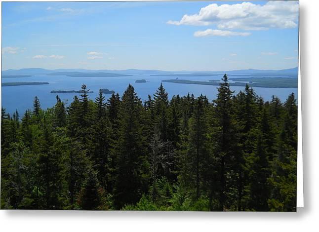 Jeff Moose Greeting Cards - Moosehead Lake from Mount Kineo Greeting Card by Jeff Moose