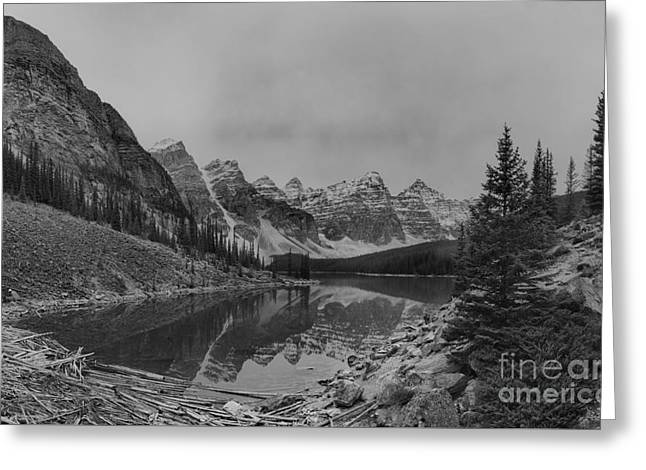 Mountain Valley Greeting Cards - Moraine Lake Black And White Greeting Card by Adam Jewell