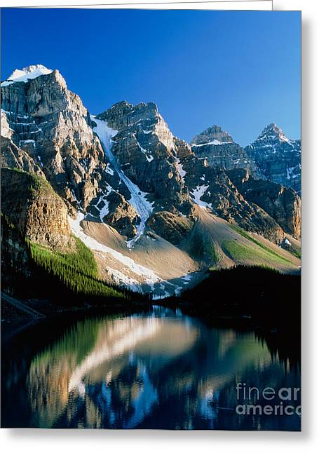 Mountain Greeting Cards - Moraine lake Greeting Card by David Nunuk