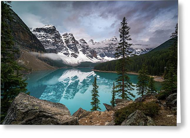 Moraine Lake In The Canadaian Rockies Greeting Card by James Udall