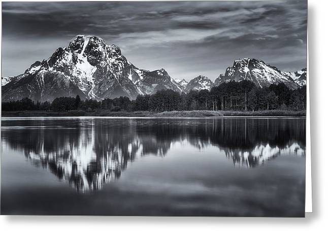 Snake River Greeting Cards - Moran in Monochrome Greeting Card by Darren  White