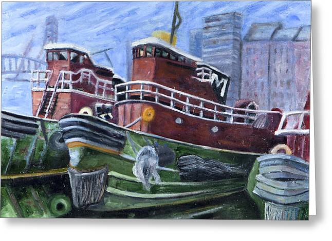 Moran Tugboats. Portsmouth New Hampshire Greeting Card by Maurice Pelissier