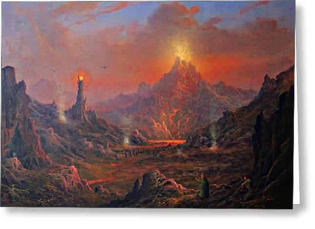 Mordor Land Of Shadow Greeting Card by Joe Gilronan