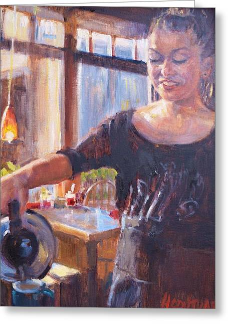 Waitress Greeting Cards - More Coffee? Greeting Card by Hilarie Couture