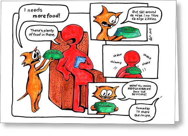 Comic Strip Greeting Cards - Morefood Greeting Card by Pet Serrano