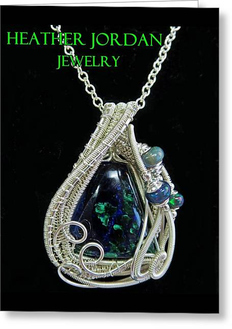 Wrap Jewelry Greeting Cards - Morenci Azurite Malachite and Sterling Silver Wire Wrapped Pendant with Ethiopian Opals MMASSP2 Greeting Card by Heather Jordan