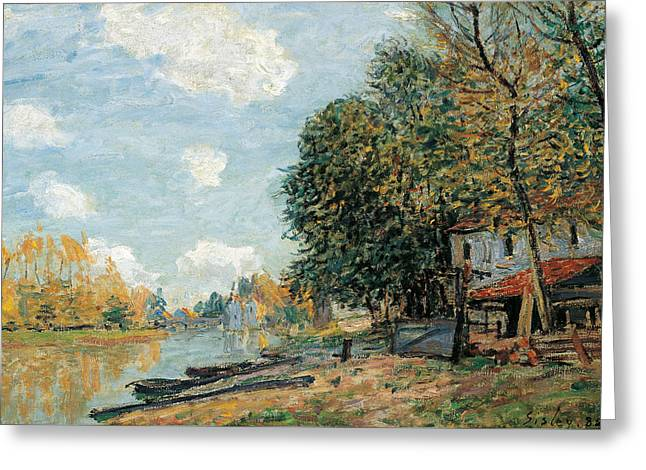 Moret The Banks Of The River Loing Greeting Card by Alfred Sisley