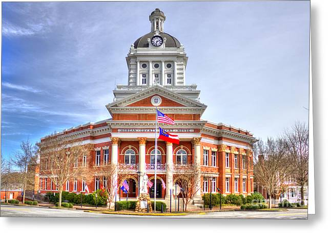 Morgan County Greeting Cards - Morgan County Court House Flags Waving Greeting Card by Reid Callaway