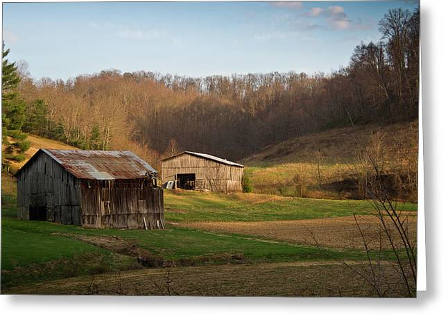 West Fork Greeting Cards - Morgan County Farm Valey Greeting Card by Douglas Barnett