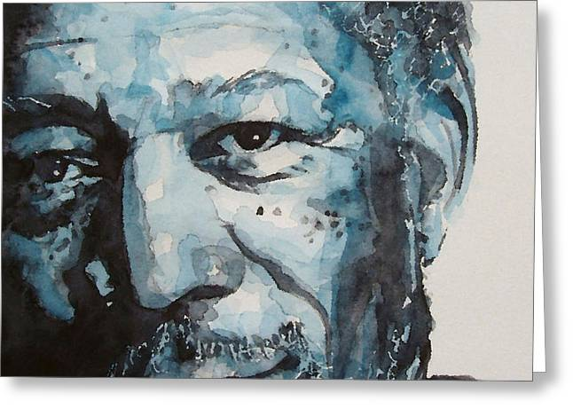 Actor Greeting Cards - Morgan Freeman Greeting Card by Paul Lovering
