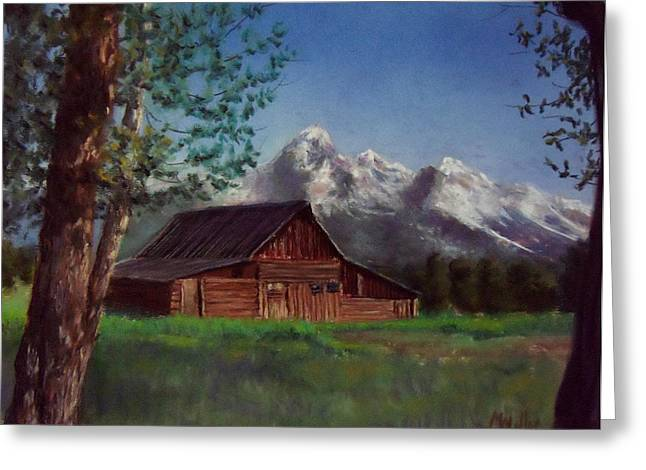 Jackson Pastels Greeting Cards - Mormon Row Barn Greeting Card by Marcus Moller