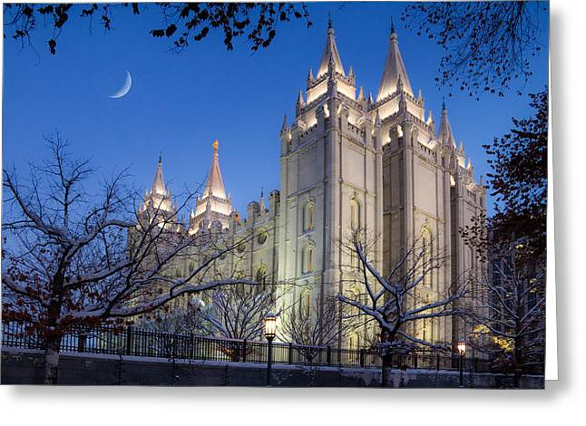 Snowy Evening Greeting Cards - Mormon Temple in Winter Greeting Card by Utah Images