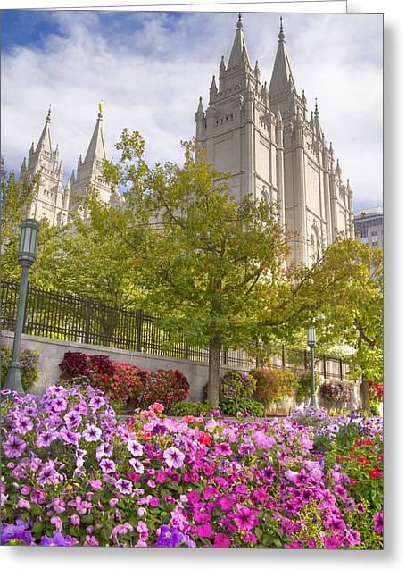 Temple Square Greeting Cards - Mormon Temple Salt Lake City Greeting Card by Utah Images