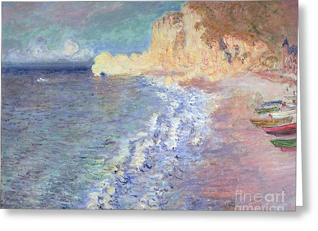 Cliff Paintings Greeting Cards - Morning at Etretat Greeting Card by Claude Monet