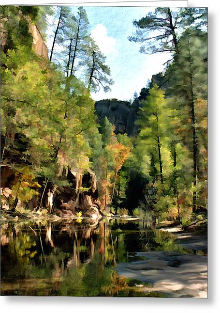 Fir Trees Greeting Cards - Morning at Oak Creek Arizona Greeting Card by Kurt Van Wagner