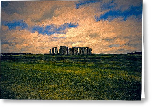 Mystical Landscape Greeting Cards - Morning at Stonehenge Greeting Card by John K Woodruff