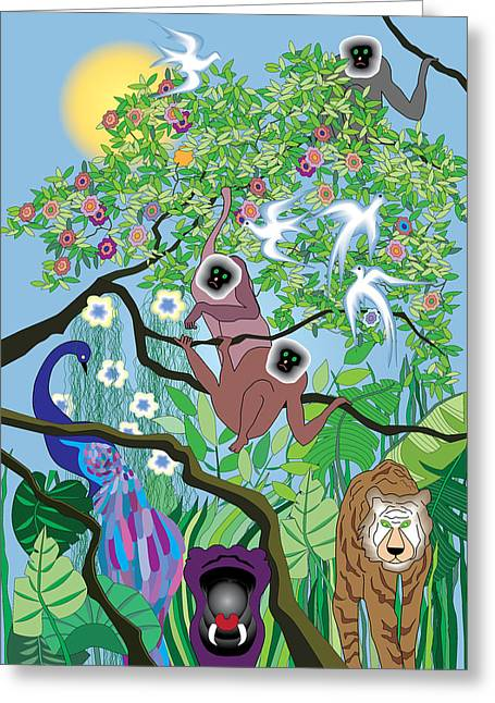 Hippopotamus Digital Art Greeting Cards - Morning at the Jungle Greeting Card by Lydia Davis