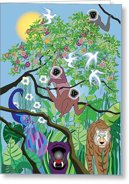 Hippopotamus Digital Greeting Cards - Morning at the Jungle Greeting Card by Lydia Davis