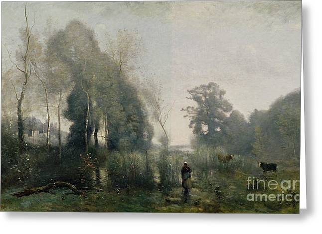 Figures Paintings Greeting Cards - Morning at Ville dAvray Greeting Card by Jean Baptiste Camille Corot