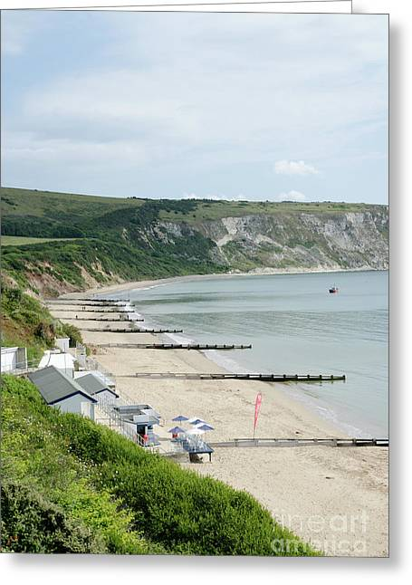 Dorset Greeting Cards - MORNING BAY Pt looking up Swanage Bay on a summer morning beach scene Greeting Card by Andy Smy