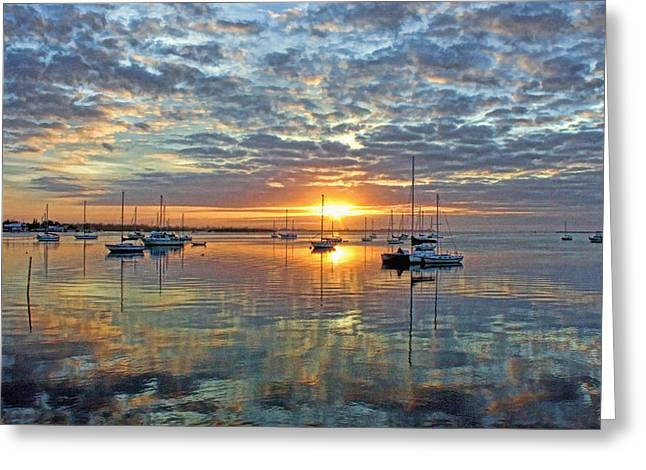 Sailboat Art Greeting Cards - Morning Bliss Greeting Card by HH Photography of Florida