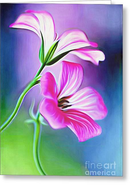 Floral Digital Art Digital Art Greeting Cards - Morning Bloom Greeting Card by Larry Espinoza