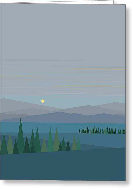 Minimalist Landscape Greeting Cards - Morning Blues Greeting Card by Val Arie