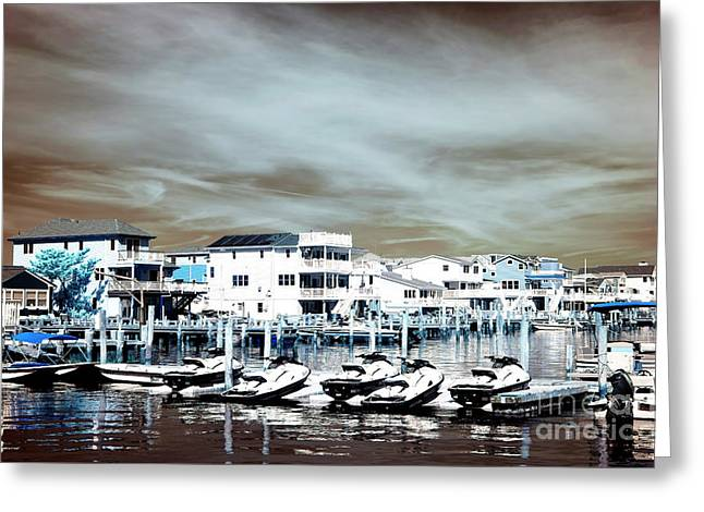 Morning Jet Skis Infrared Greeting Card by John Rizzuto