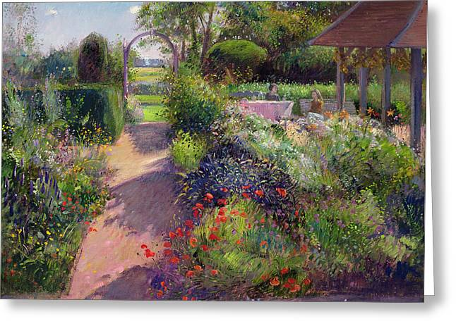 Flower Garden Greeting Cards - Morning Break in the Garden Greeting Card by Timothy Easton