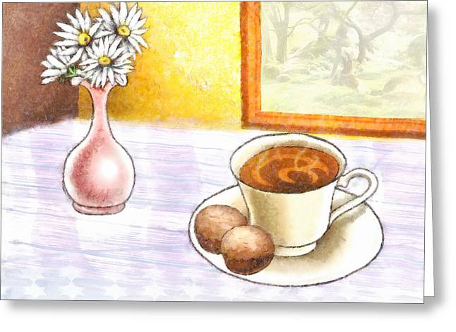 Broken Vase Greeting Cards - Morning Break Greeting Card by Ruth Moratz