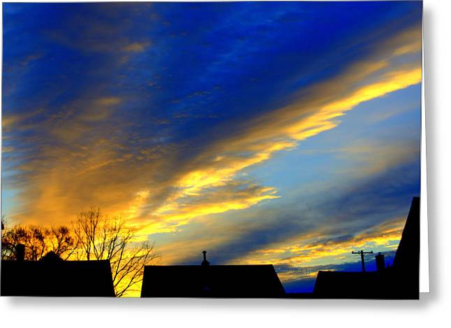 Recently Sold -  - Abstract Forms Greeting Cards - Morning Breaking Over The City Greeting Card by Rosemarie E Seppala