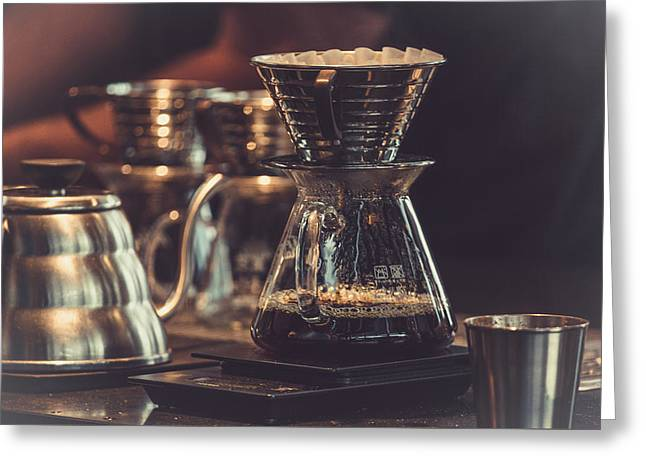 Glass Table Reflection Greeting Cards - Morning Brew Greeting Card by Unsplash